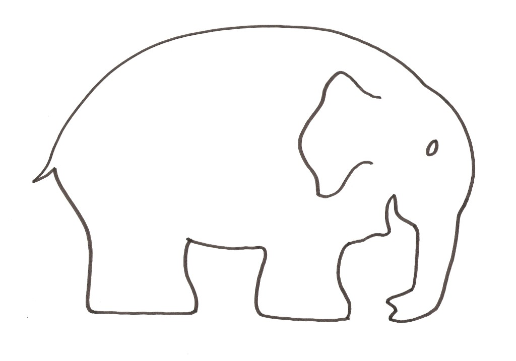 Bright image with elephant outline printable